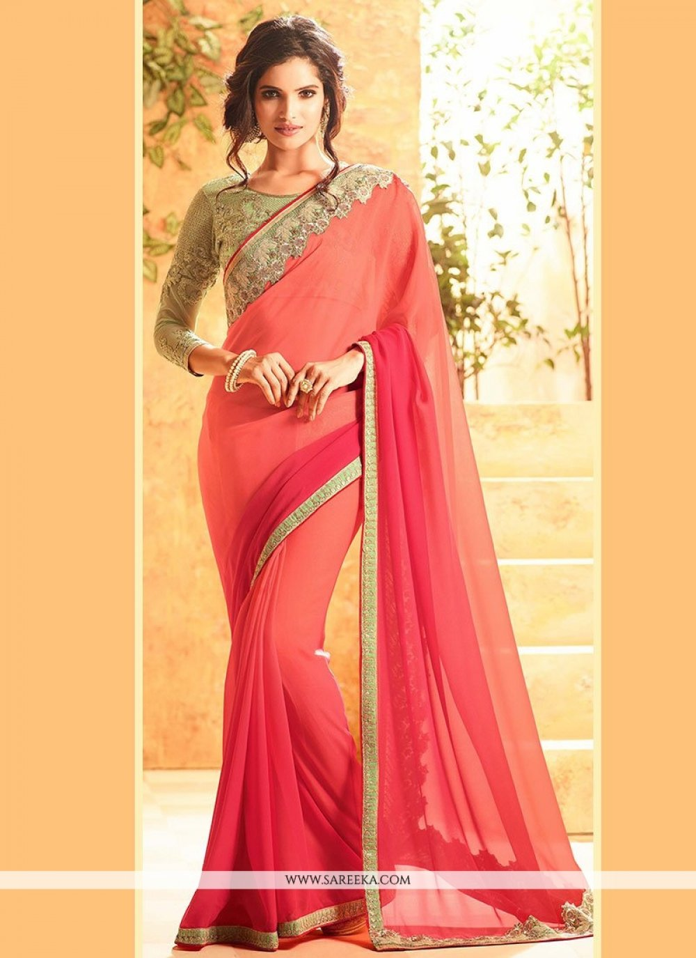 Faux Georgette Peach and Pink Shaded Saree