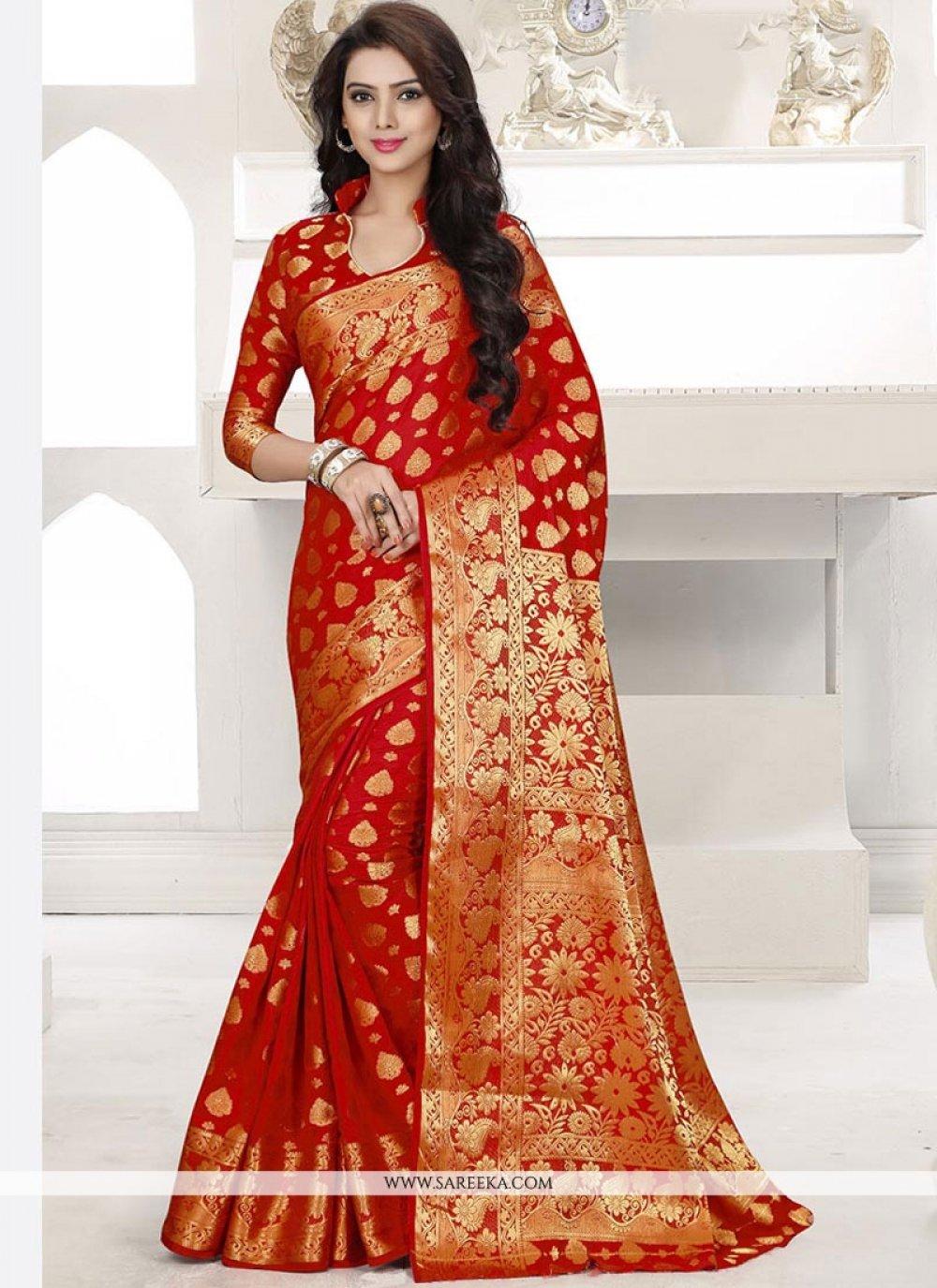 Red Weaving Work Designer Traditional Saree