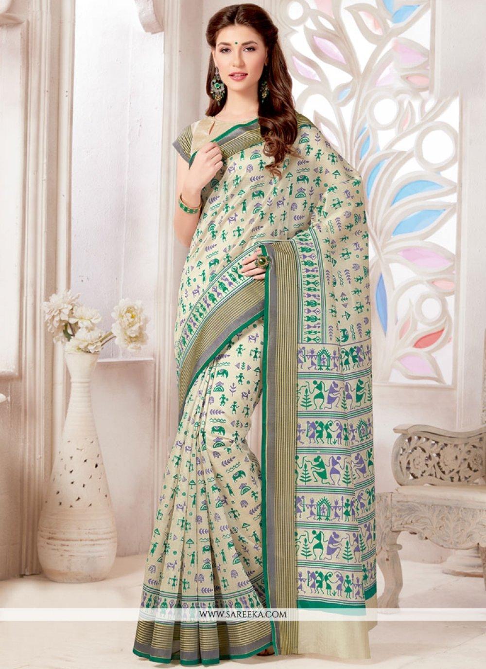 Tussar Silk Print Work Casual Saree