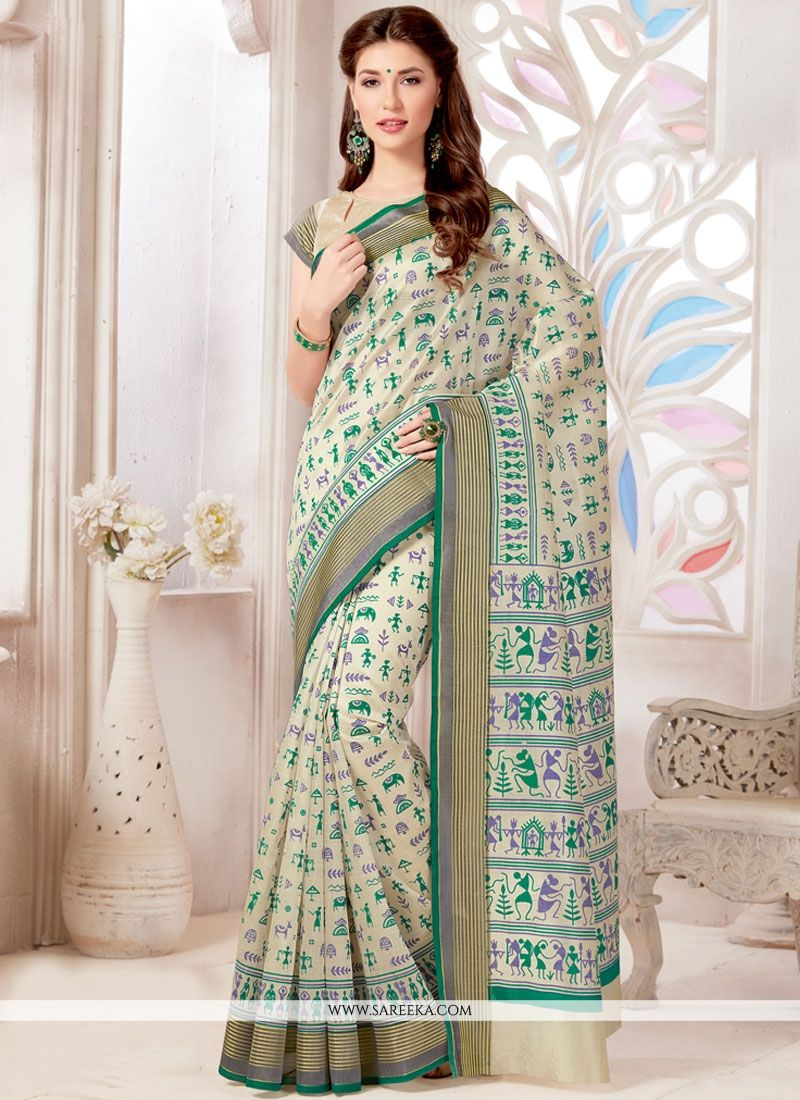 Tussar Silk Print Work Casual Saree