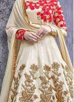 Art Silk Cream Zari Work Floor Length Anarkali Suit