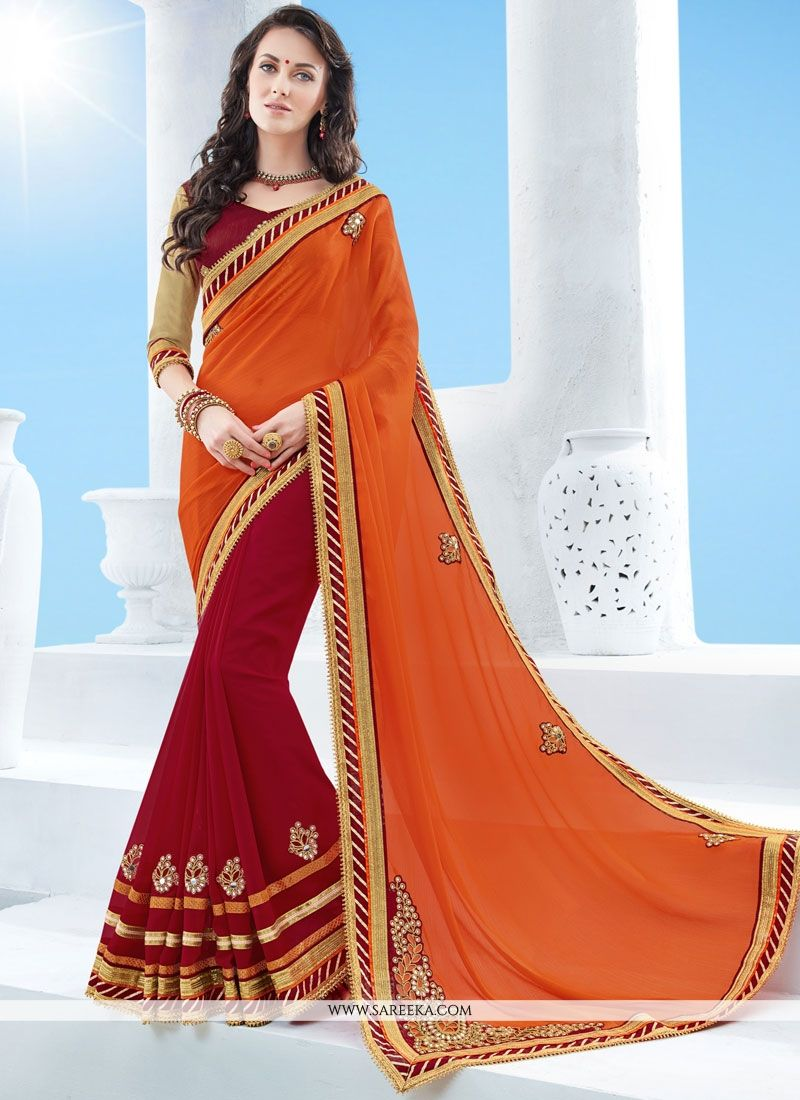 Orange and Red Patch Border Work Faux Chiffon Half N Half  Saree