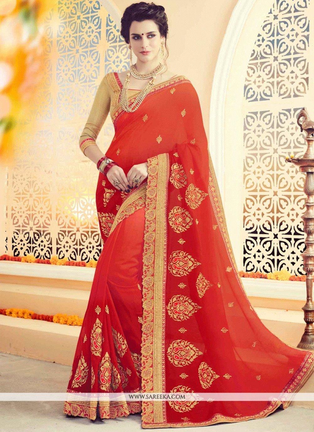 Orange and Red Shaded Saree