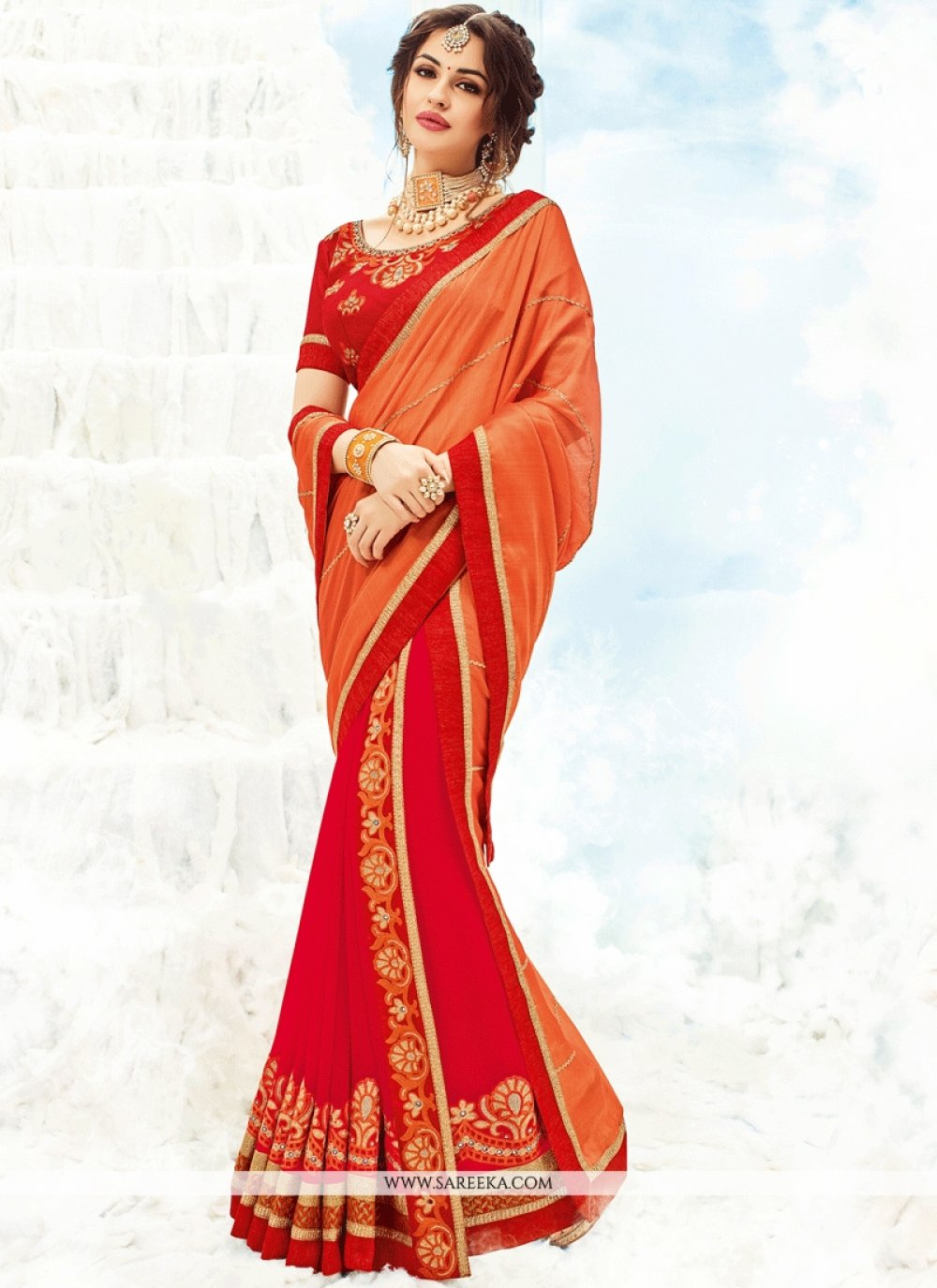 Orange and Red Shaded Saree