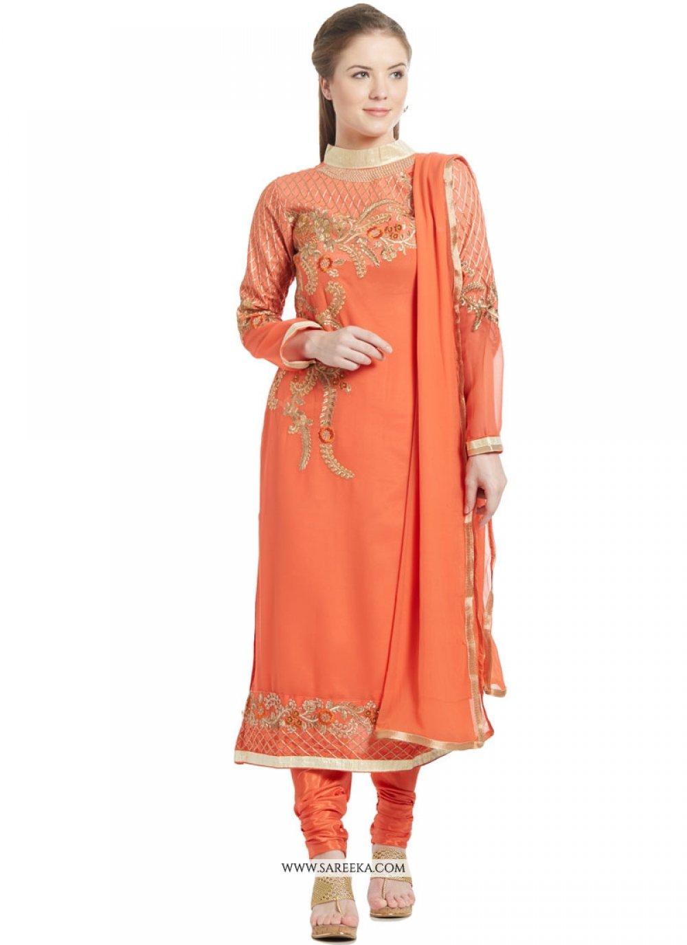Orange Churidar Designer Suit