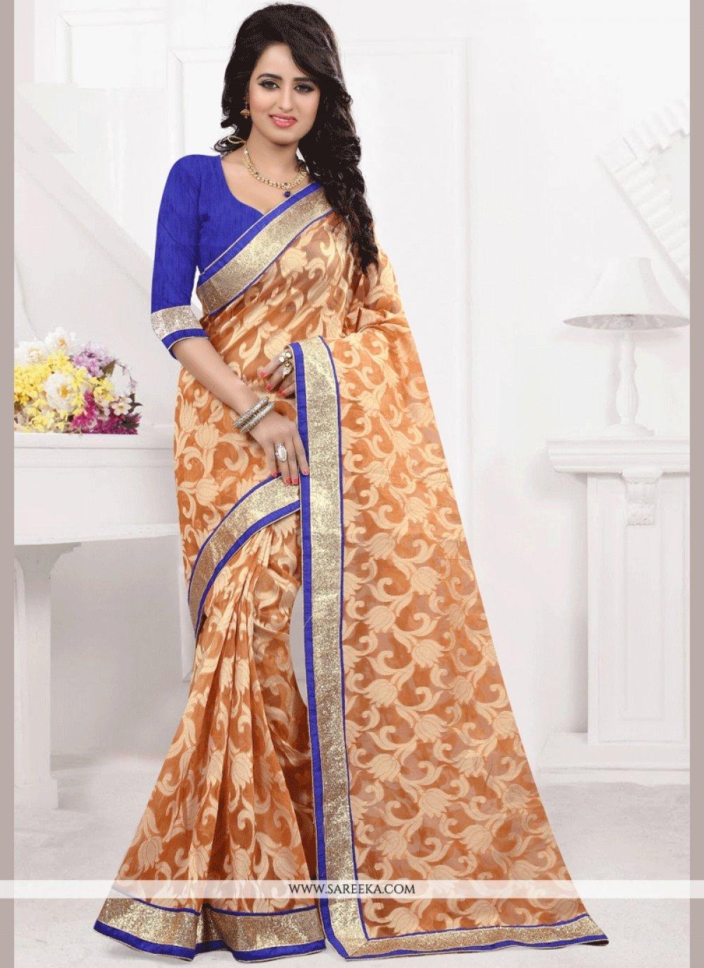 Orange Jacquard Classic Designer Saree