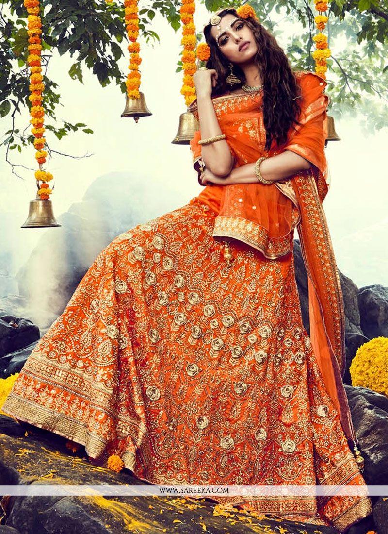 Orange Resham Work Lehenga Choli