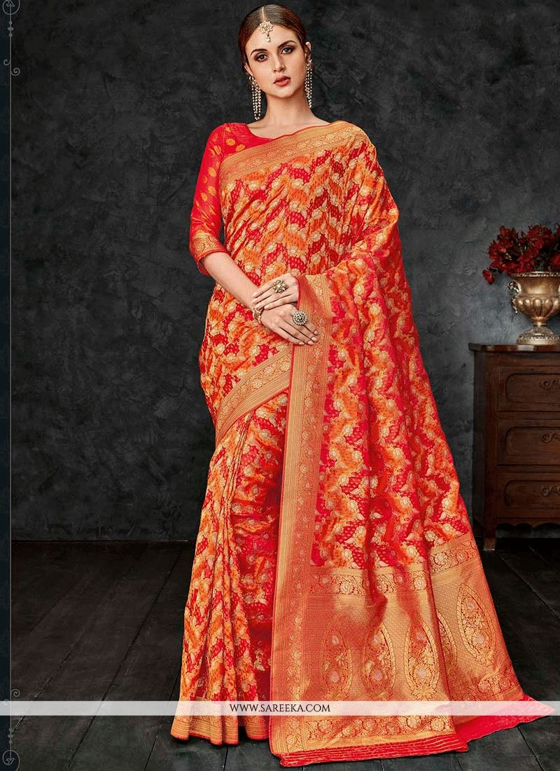f719f0fc8a Buy Orange Weaving Work Banarasi Silk Designer Traditional Saree Online :  UK -