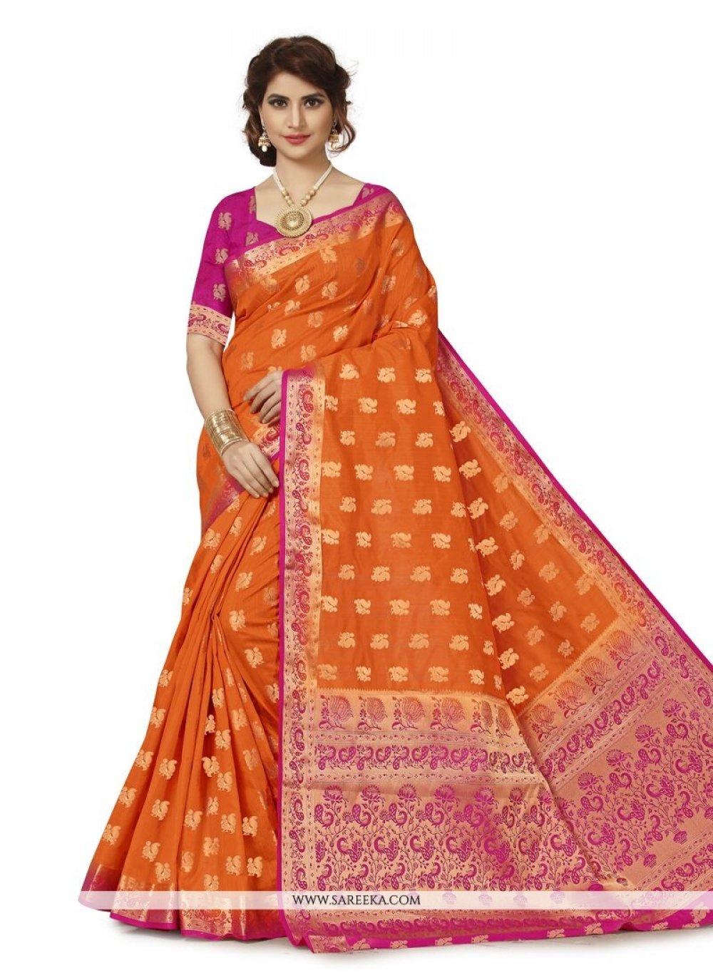 Orange Weaving Work Banarasi Silk Traditional  Saree
