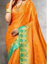 Orange Weaving Work Traditional  Saree