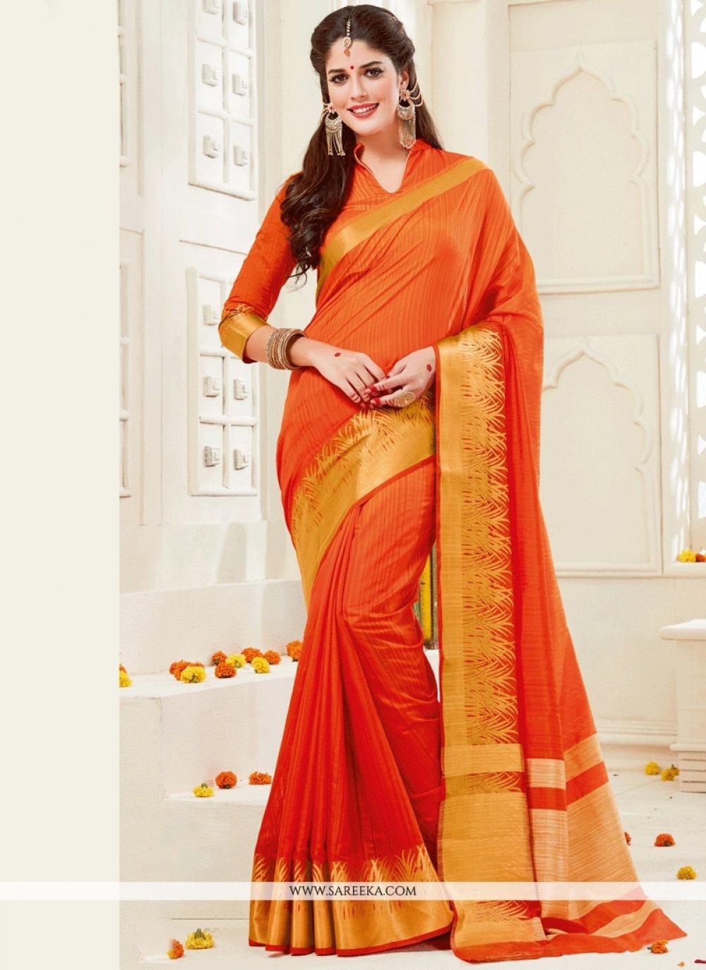 Orange woven Work Art Silk Traditional Designer Saree