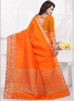 Orange woven Work Banarasi Silk Traditional Designer Saree