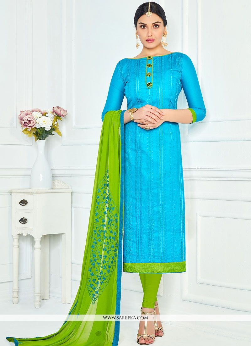 Lace Work Cotton   Blue and Green Churidar Suit