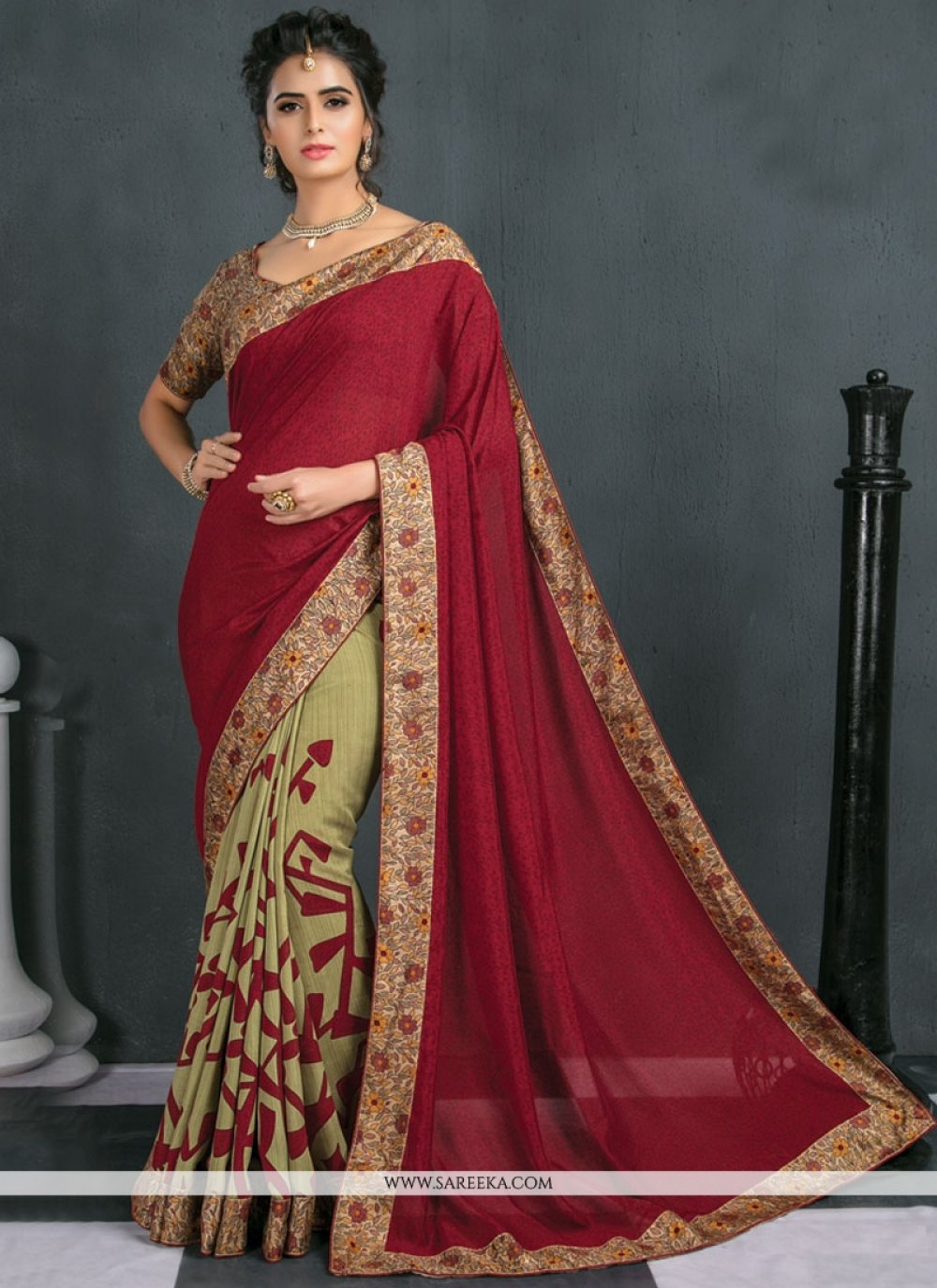 Print Work Beige and Maroon Traditional  Saree