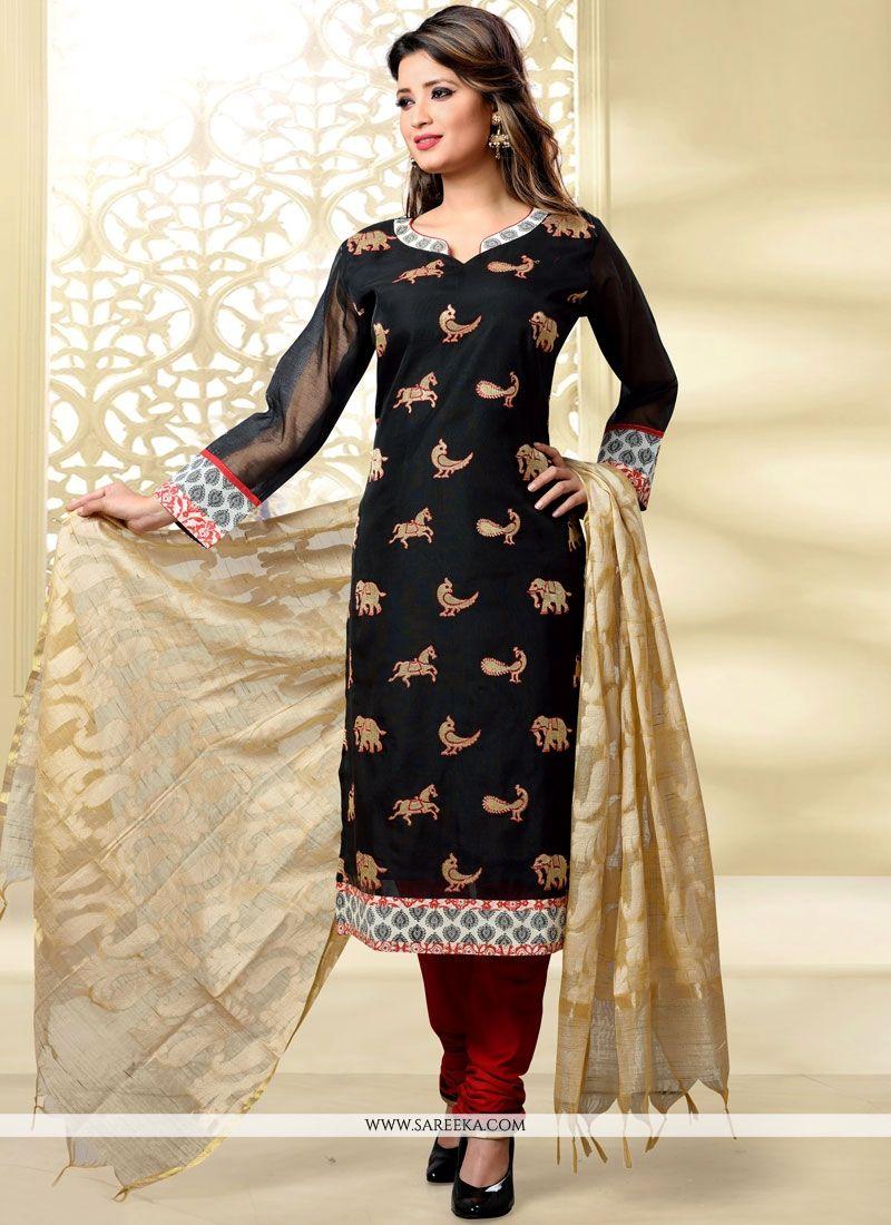 Chanderi Black Churidar Designer Suit