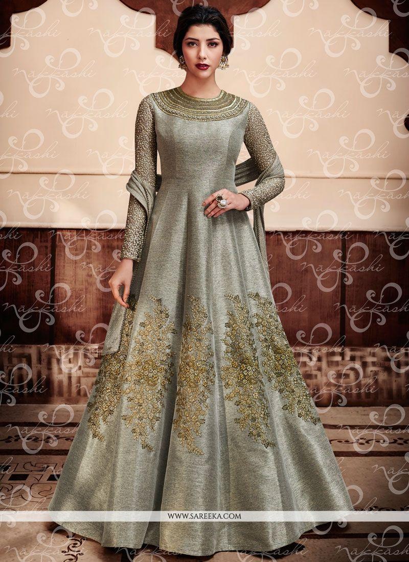 Embroidered Work Jute Silk Grey Anarkali Salwar Kameez