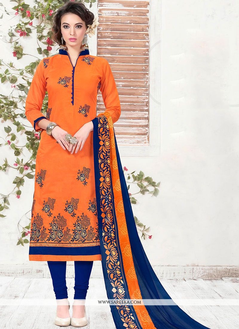 Orange Embroidered Work Churidar Suit