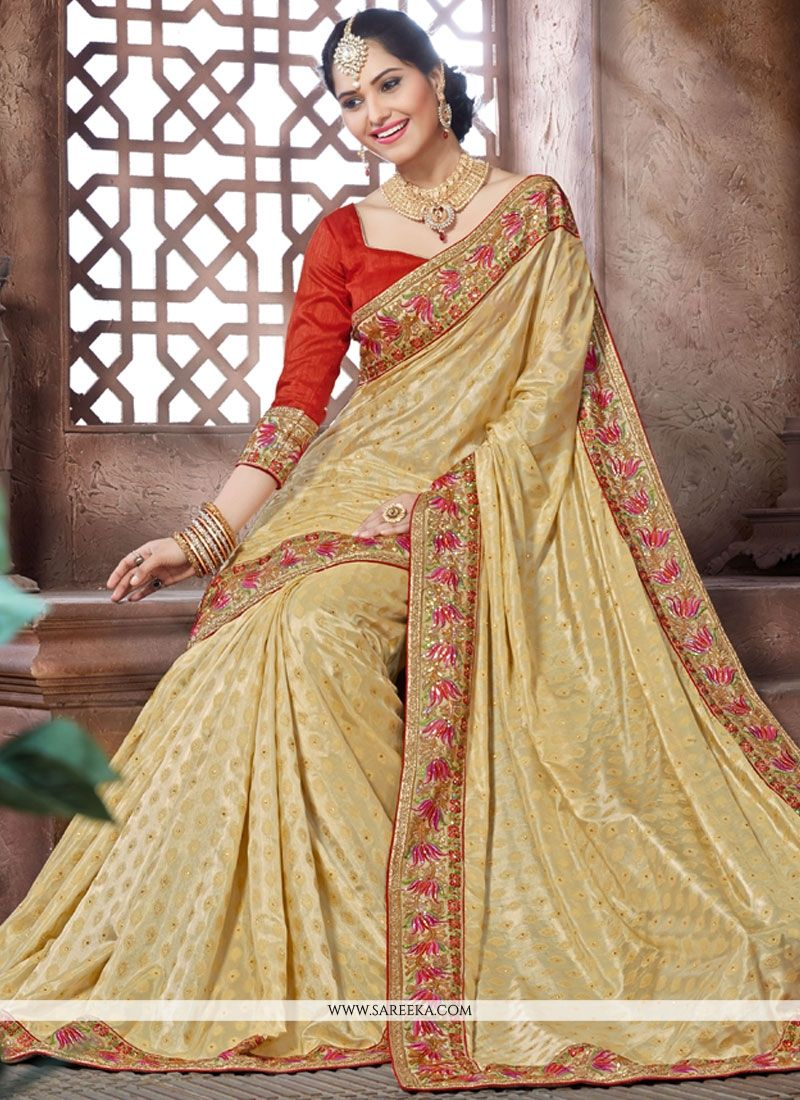 Crepe Jacquard Embroidered Work Designer Saree