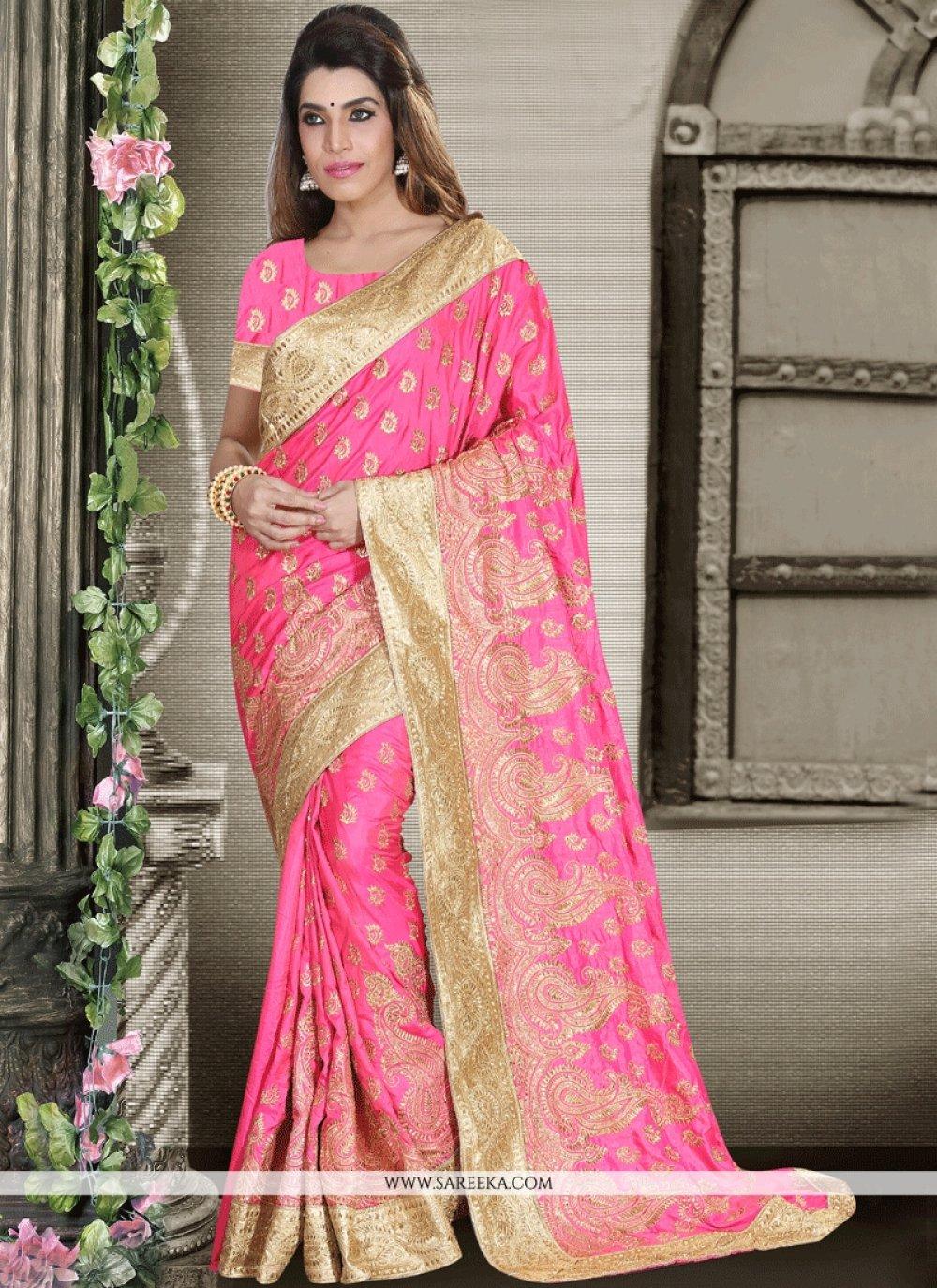 Patch Border Art Silk Designer Traditional Saree in Pink