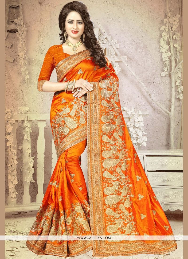 Patch Border Art Silk Traditional Designer Saree in Orange