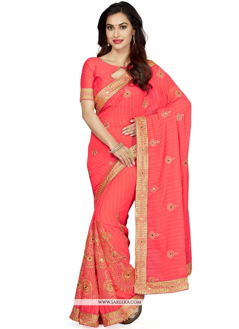 Patch Border Faux Chiffon Classic Designer Saree in Rose Pink