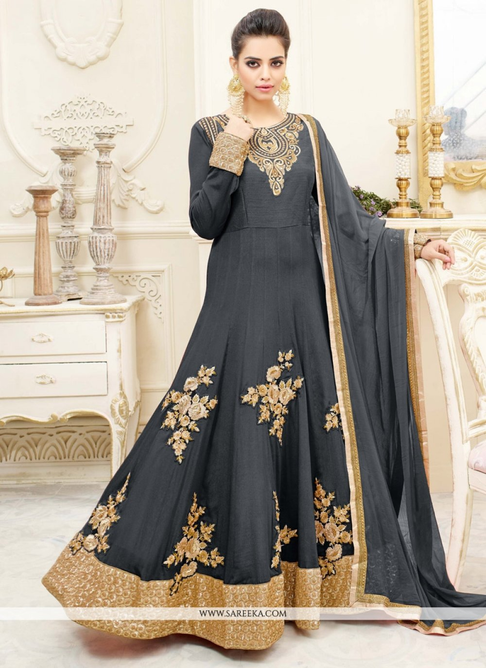 Patch Border Faux Chiffon Floor Length Anarkali Suit in Grey
