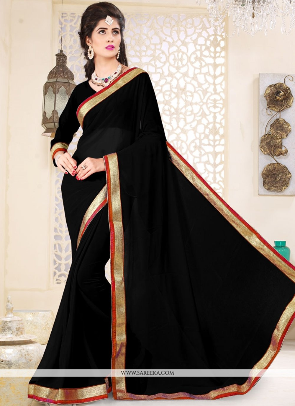 Patch Border Faux Georgette Casual Saree in Black