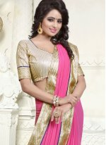 Patch Border Faux Georgette Casual Saree in Pink