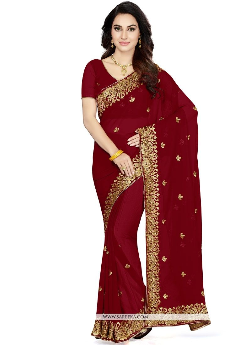 Patch Border Faux Georgette Classic Designer Saree in Maroon