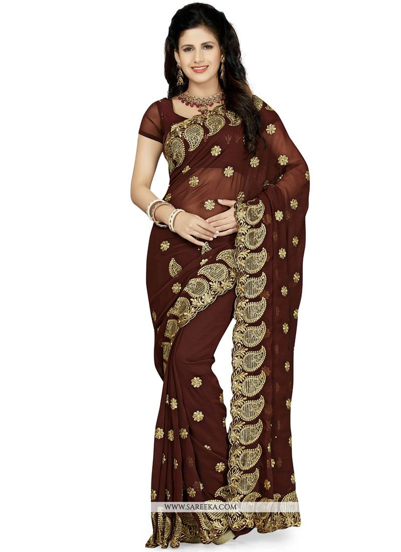 Patch Border Faux Georgette Classic Saree in Brown