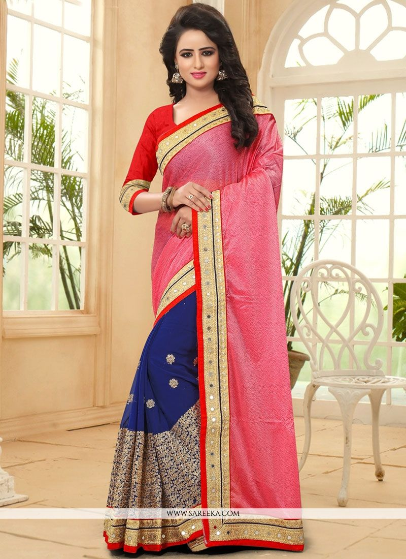 b20e23fdb27 Buy Patch Border Faux Georgette Half N Half Designer Saree in Navy Blue and  Pink Online   Malaysia -