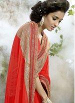 Patch Border Net Classic Designer Saree in Orange