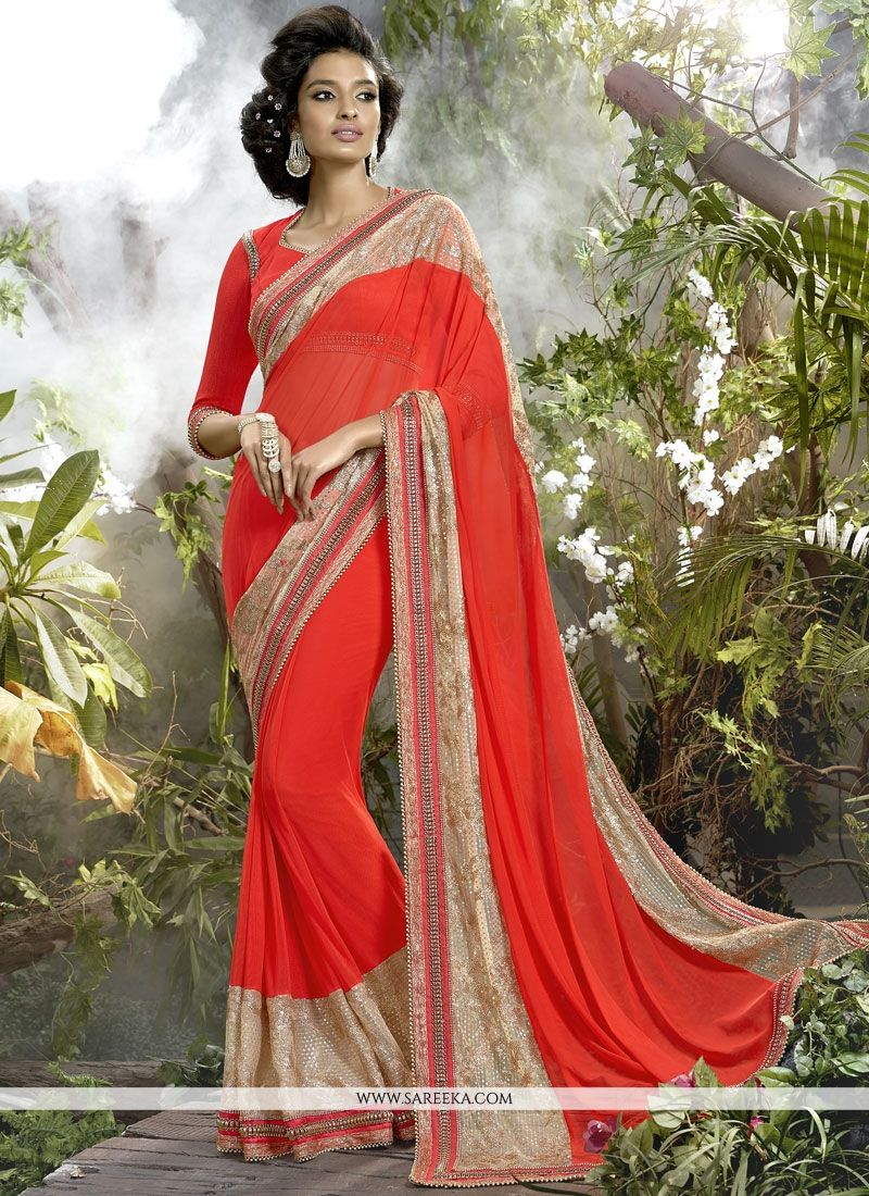 Patch Border Net Classic Designer Saree in Orange