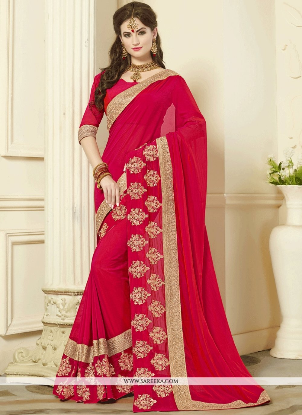 Patch Border Work Art Silk Classic Designer Saree