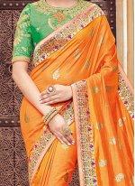 Patch Border Work Banarasi Silk Traditional Designer Saree