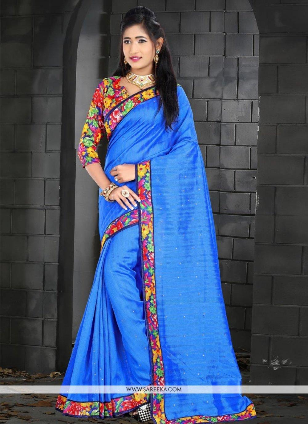 Patch Border Work Bhagalpuri Silk Traditional  Saree