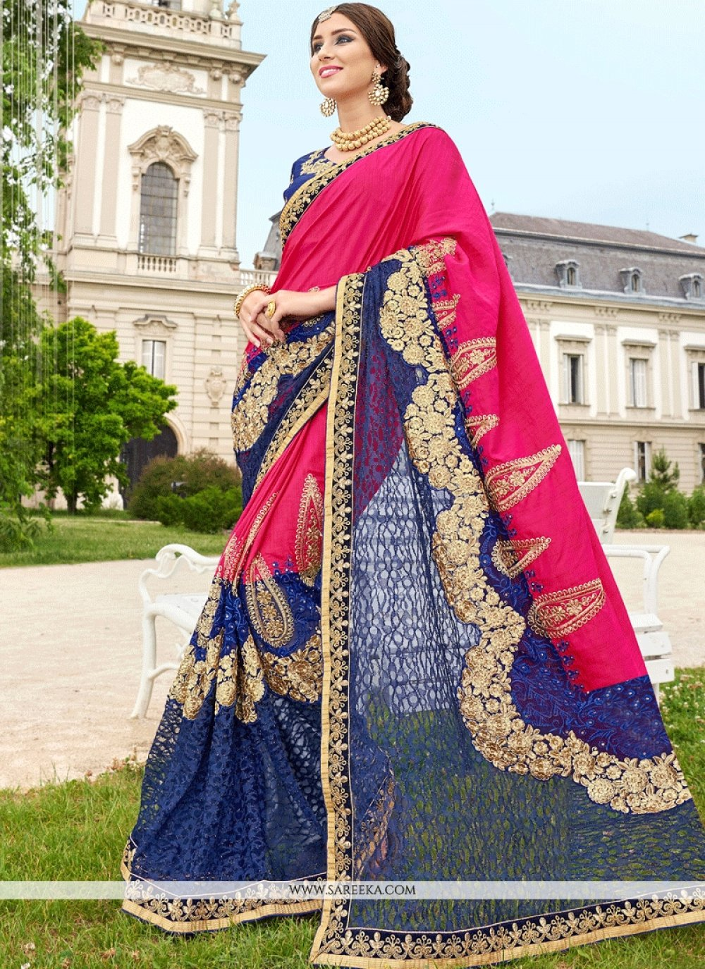 Patch Border Work Blue and Hot Pink Net Classic Designer Saree