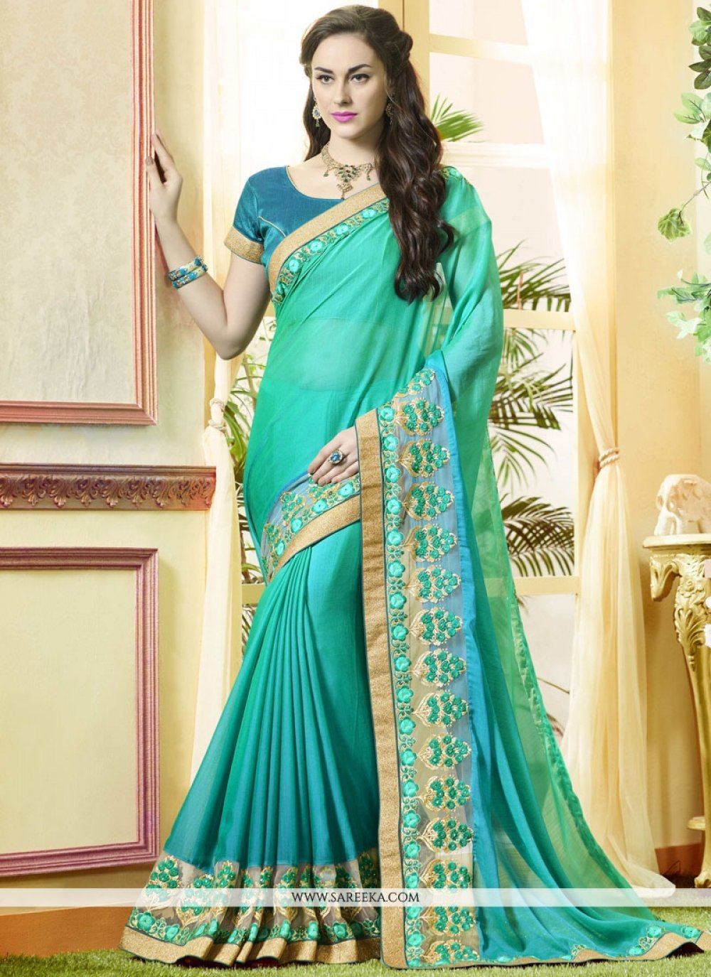 Patch Border Work Blue and Sea Green Faux Georgette Shaded Saree