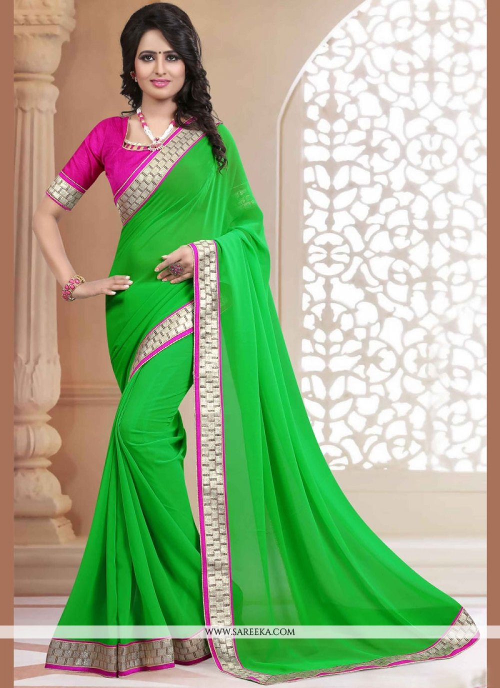 Patch Border Work Faux Georgette Casual Saree