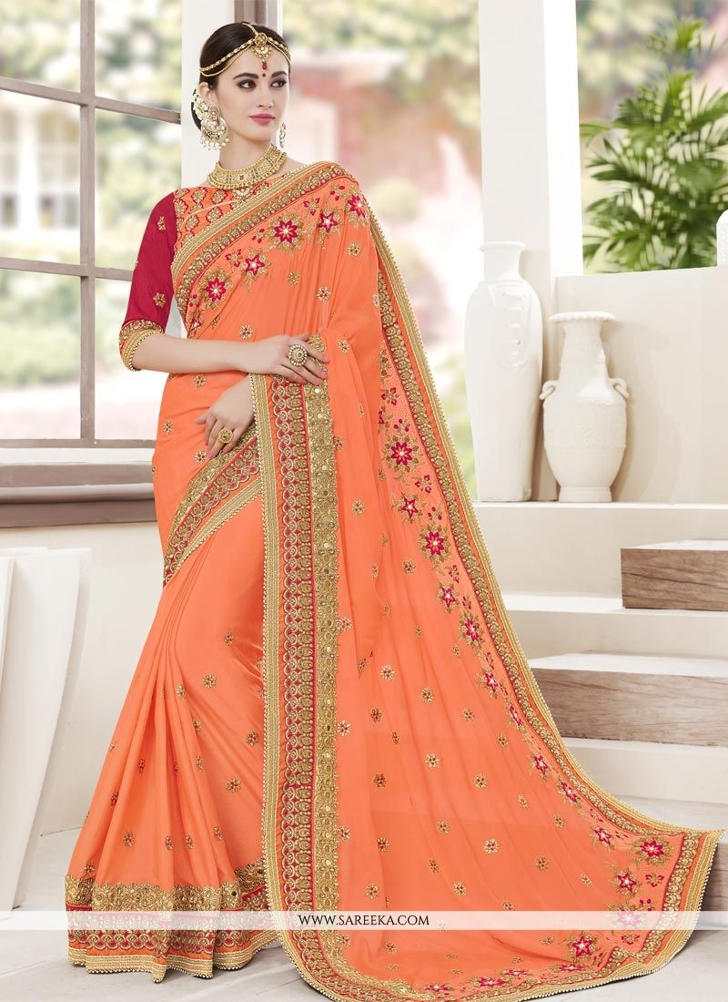 Patch Border Work Faux Georgette Designer Saree