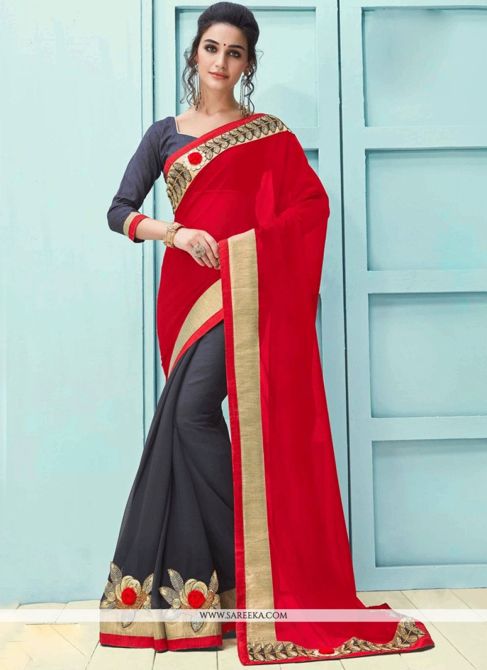 Patch Border Work Grey and Red Faux Georgette Half N Half  Saree