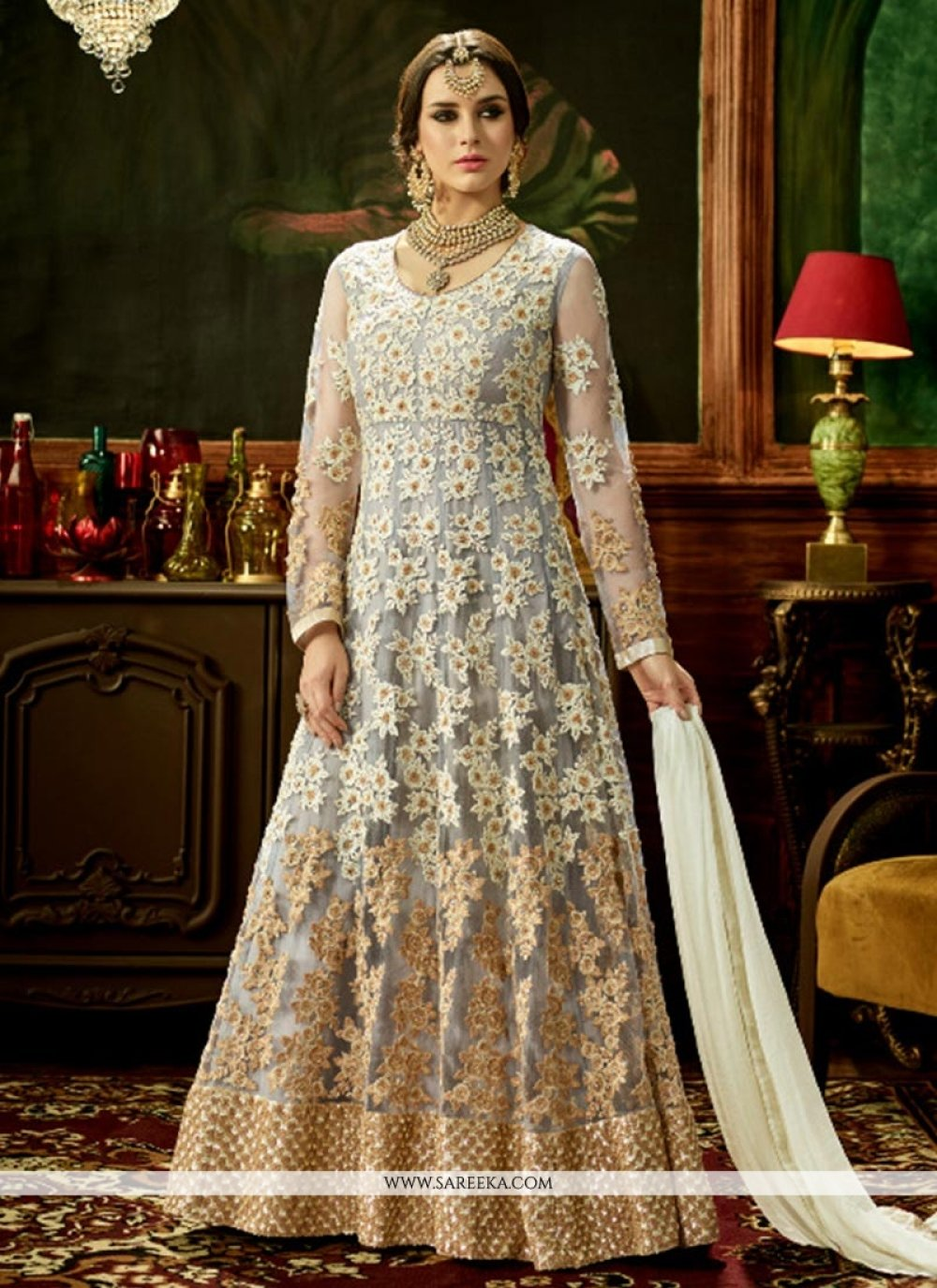 Patch Border Work Grey Floor Length Anarkali Suit