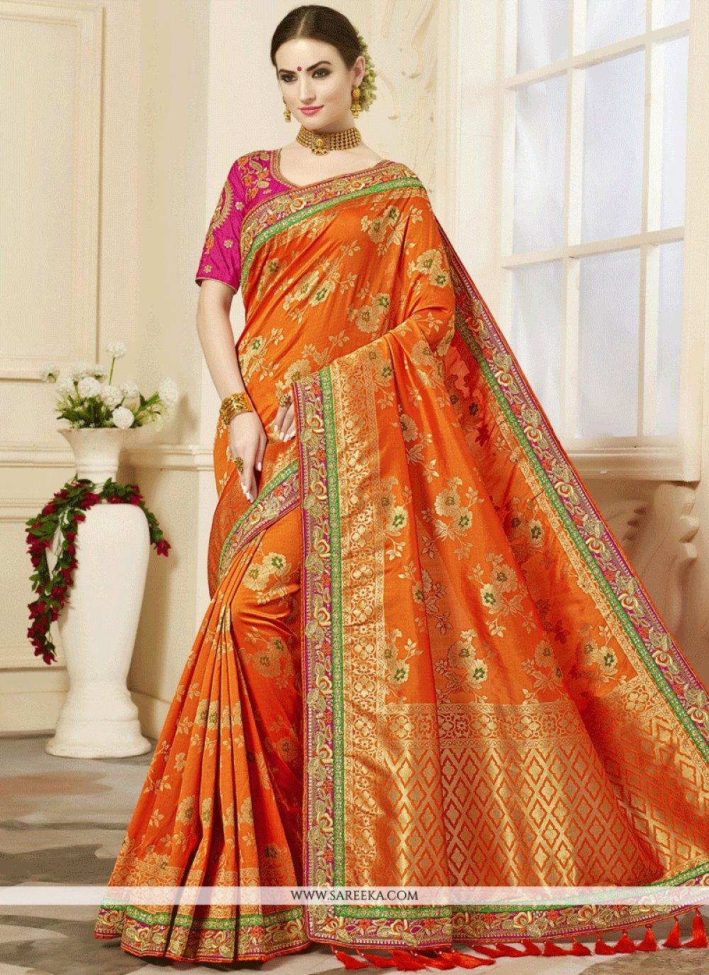 Patch Border Work Jacquard Designer Traditional Saree