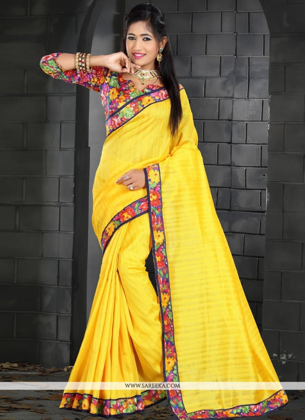 Patch Border Work Yellow Traditional  Saree