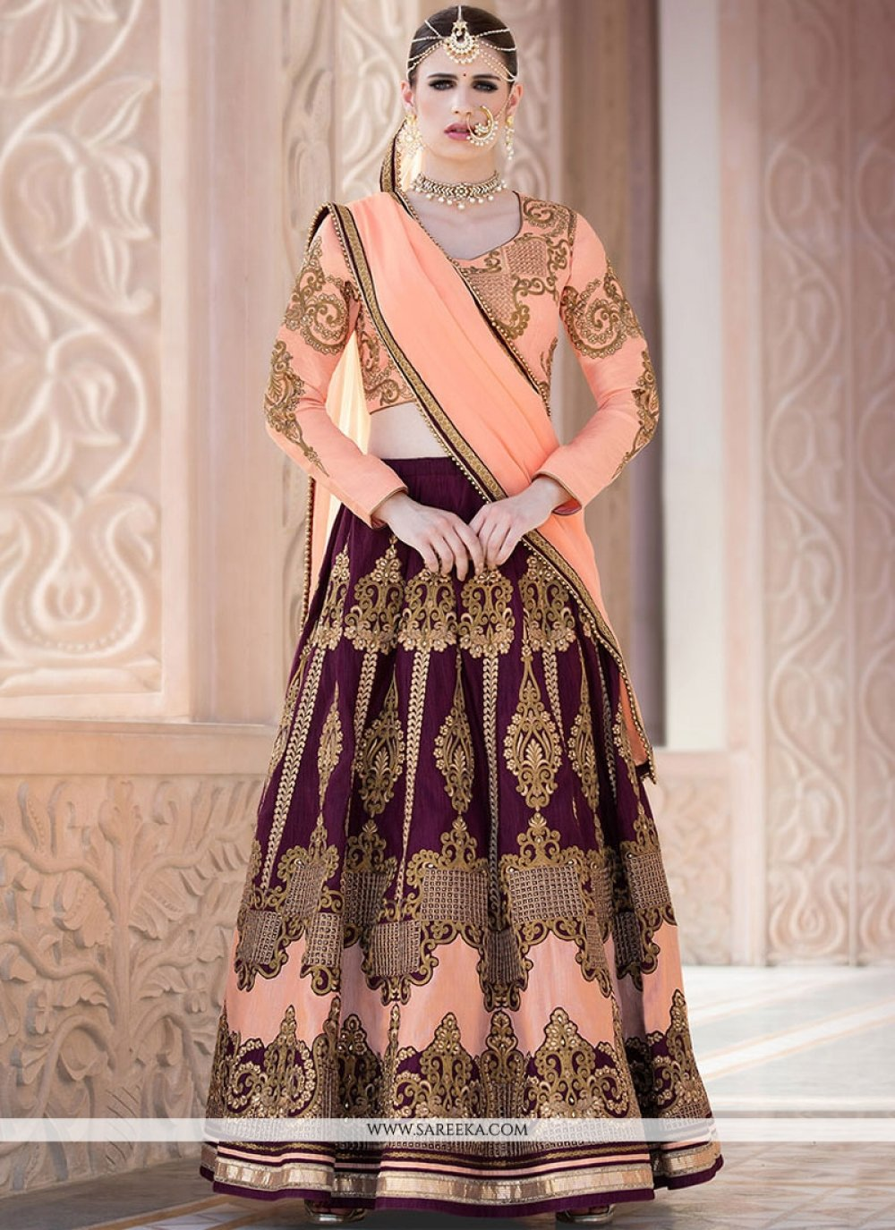 Peach and Purple Lace Work Lehenga Choli