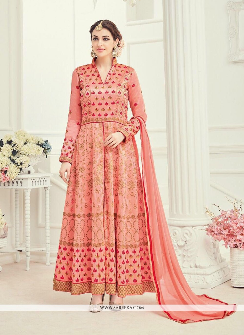 Peach Art Silk Anarkali Suit