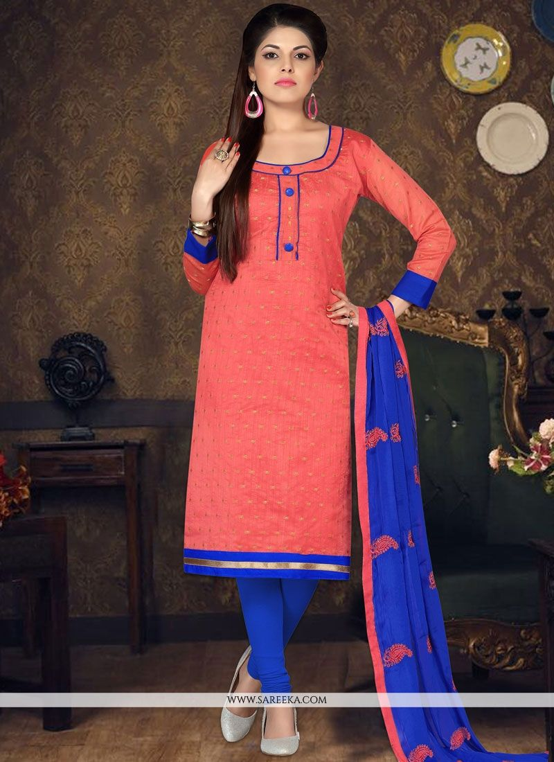 Chanderi Cotton Embroidered Work Churidar Suit