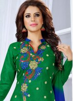 Cotton   Blue and Green Embroidered Work Churidar Suit