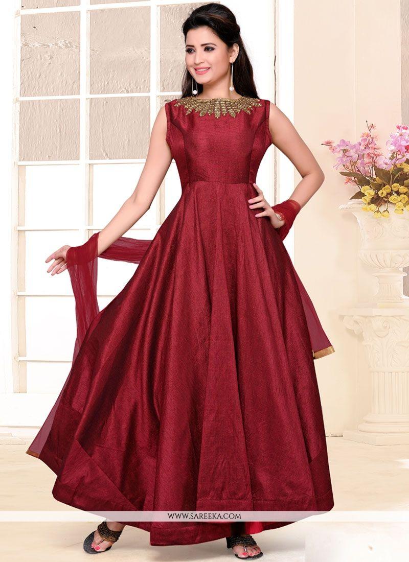 Buy Peppy Maroon Plain Work Raw Silk Anarkali Salwar Suit Online ...