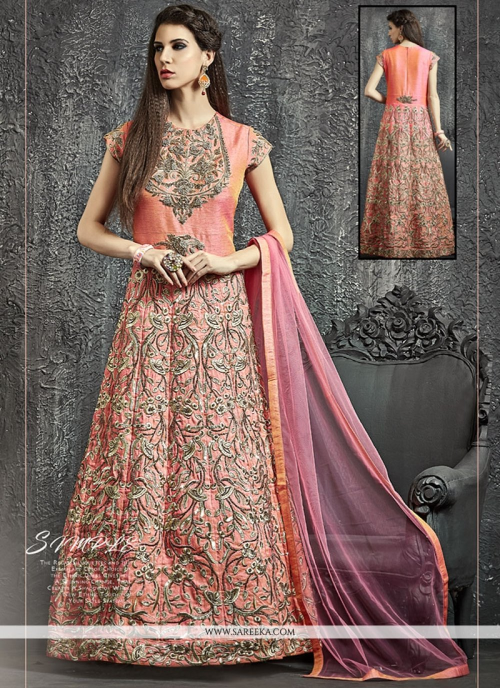 Kasab Work Raw Silk Peach Designer Floor Length Suit
